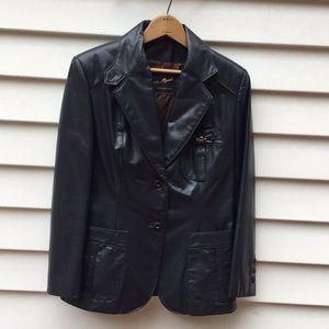 Etienne Aigner Leather Jacket Vintage Petite 12P